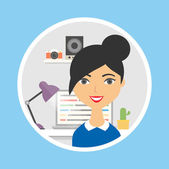 Icon of a female character in the office, flat style — Stock Vector