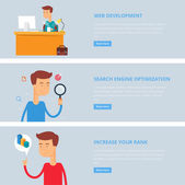 Banners for web: web development, search engine optimization, increase your rank. Flat style, vector illustration with characters — Stock Vector