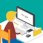 Illustration of a man sitting at the desk and working on the computer. Vector illustration isometric style — Cтоковый вектор