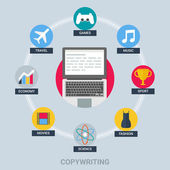 Copywriting and blogging concept: games, music, sport, fashion, science, movies, economy, travel. Vector illustration flat style — 图库矢量图片