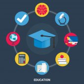 Education concept. Flat design style modern vector illustration for web — Stock Vector