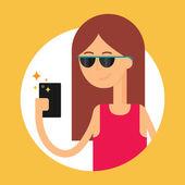 Vektorové ilustrace ženy držící smartphone, moderní ploché styl — Stock vektor