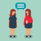 Conversation between two women, vector illustration — Stock Vector