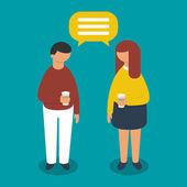 Conversation between man and woman, vector illustration — Stock Vector