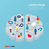 Brain left and right side concept. Vector illustration, isometric style — Stock Vector