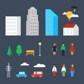 Set of city objects, buildings, people, transport. Vector illustration, urban landscape — Stock Vector