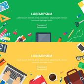 Banners for web: design, development, business. Vector illustration, hero images, workspaces, flat style — Stock Vector