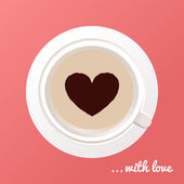 Cup of coffee with heart shape in the middle. Vector illustration — Stock Vector