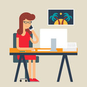 Vector illustration of a woman working in the office, flat style — Stock Vector