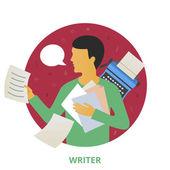 Writer, vector illustration — Vetor de Stock