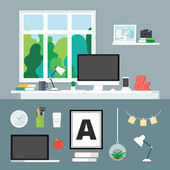 Office and home workplace flat style modern vector illustration for web, print, infographic, design. Create your own workplace. — Stok Vektör