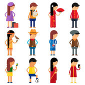 People nationality vector character set  — Stock Vector