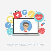 Online medical consultation concept vector illustration, flat st — ストックベクタ