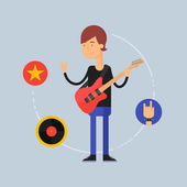 Character - musician, music concept. Vector illustration, flat s — Stock Vector