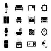 Set of furniture silhouettes — Stock Vector