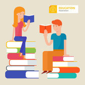 Vector illustration of two student sitting on а stock of books, — Stock Vector