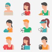 Set of flat style vector sport icons with sportsmen and sports c — Stock Vector