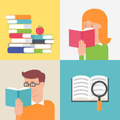 Education concept, books, reading people. Flat style vector illu — Stock Vector