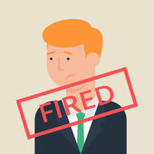 Illustration of fired employee, flat style — Stock Vector