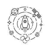 Vectorillustratie van raket vliegen in de ruimte. Start up en scie — Stockvector