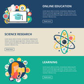 Education and science banners: online education, e-learning, sci — Stock Vector