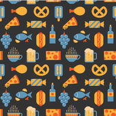 Food and drink pattern, flat style — Stockvektor