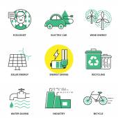 Ecology vector icons set: ecologist, electric car, wind energy,  — Stock Vector