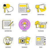 Journalism and mass media vector icons set: interview, newspaper — Stock Vector