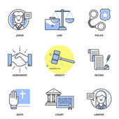 Law vector icons set — Vettoriale Stock