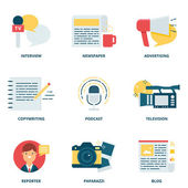 Journalism and mass media vector icons set modern flat style — Stock Vector