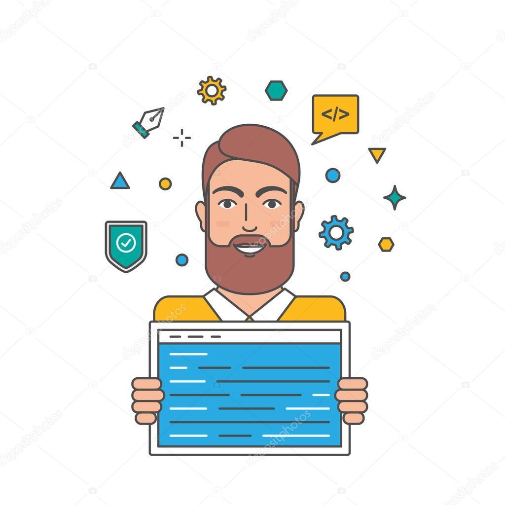 程序员,web 开发人员,编码器矢量图
