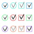 Set of different ticks in colored boxes and circles — Stock Vector #54948257