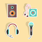 Music stickers with shadow — Stock Vector