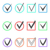 Set of different ticks in colored boxes and circles — Vector de stock