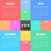 Calendar of 2015 year with different colored months — Stock Vector