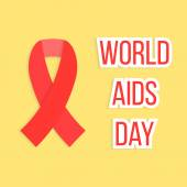 Concept of world AIDS day with red ribbon — Stock Vector