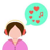 Girl listening to music with green speech bubble — Vector de stock