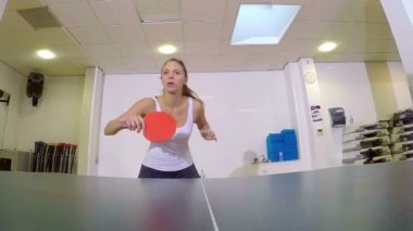 Two unidentified players playing on table in tennis indoors — Vídeo Stock