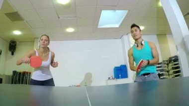 Players playing on table in tennis indoors — Vídeo Stock