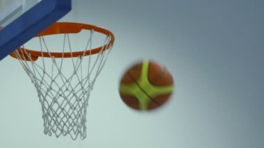 Basketball passing through hoop — Stock Video