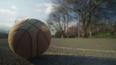 Empty basketball court with a ball — Stock Video