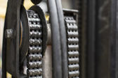 Oiled chain of a forklift truck close up — Foto Stock