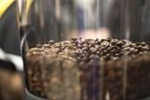 Kaffebönor på nära håll i en kvarn — Stockfoto