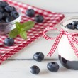 Jar with greek yogurt, blueberry jam and a red ribbon. A bowl off blueberries and peppermint. All in a white wooden table and a checkered red napkin. — Stock Photo #64247223