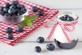 Jar with greek yogurt, blueberry jam and a red ribbon. A bowl off blueberries and peppermint. All in a white wooden table and a checkered red napkin. — Fotografia Stock