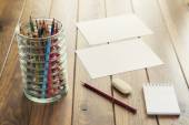Back to school. A desk with supplies (pencils, notepad, eraser, etc.) — Stock Photo