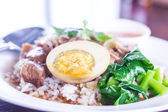 Meat curry with rice, selective focus. — Stockfoto
