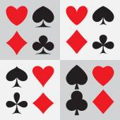 Playing card suits: four different types of design — Stock Vector