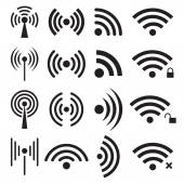 Set of black wireless and wifi icons — Stock Vector