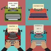 Four vector illustration of retro typewriters. Concepts of writi — Stock Vector